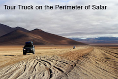 Tour Trucks on the perimeter of Salar de Uyuni Salt Flats
