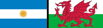 Argentinian and Welsh Flags