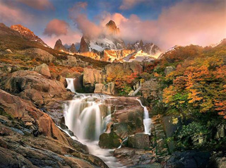 Mountain Waterfall in South America